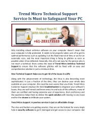 Trend Micro Technical Support Service Is Must to Safeguard Your PC