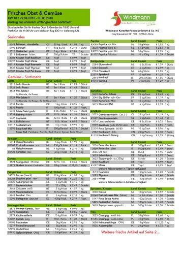 Wochenpreisliste Obst & Gemüse KW18
