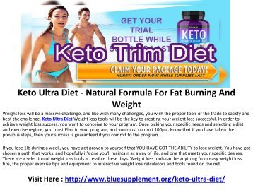 Keto Ultra Diet - Quick & Natural Way To Lose Extra Fat!