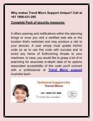Why makes Trend Micro Support different? Call at +61 1800-431-295