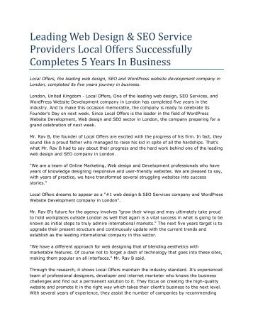 Leading Web Design & SEO Service Providers Local Offers Successfully Completes 5 Years In Business