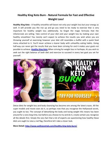 Healthy King Keto Burn - Safe Diet Pill For Weight Loss!