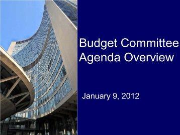 Budget Com m ittee Agenda O verview 2012 ... - City of Toronto
