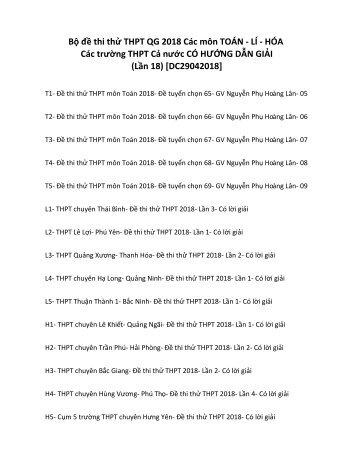Bộ đề thi thử THPT QG 2018 Các môn TOÁN - LÍ - HÓA Các trường THPT Cả nước CÓ HƯỚNG DẪN GIẢI (Lần 18) [DC29042018]
