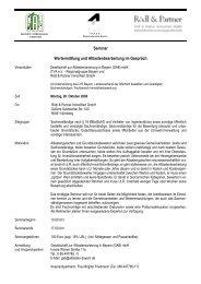 Seminar Wertermittlung und Altlastenbearbeitung im Gespräch