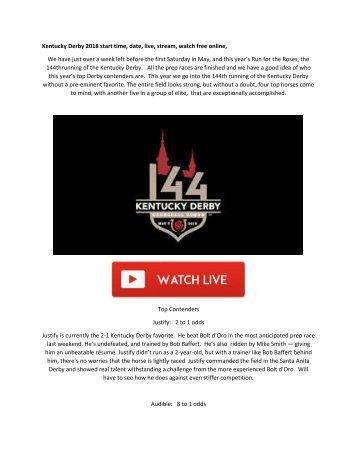 Kentucky Derby 2018 Live Stream