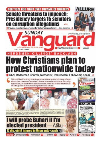 29042018 - HERDSMEN KILLINGS' BACKLASH How Christians plan to protest nationwide today
