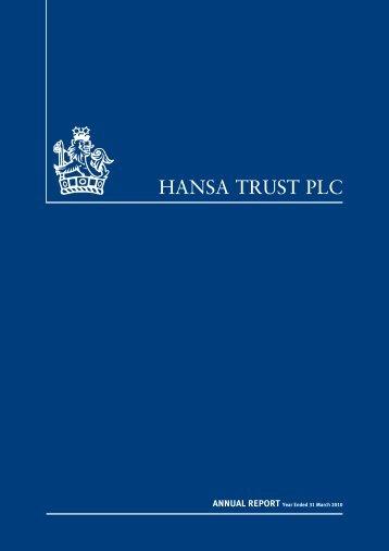 March 2010 annual report - Hansa Trust