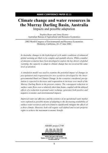 Climate change and water resources in the Murray Darling Basin ...