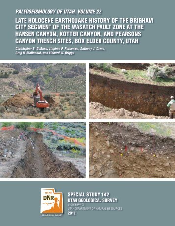 paleoseismology of utah, volume 22 - Utah Geological Survey - Utah ...