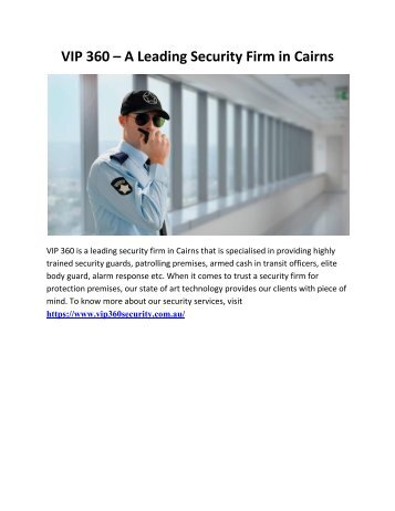VIP 360 – A Leading Security Firm in Cairns
