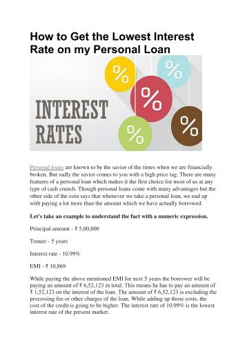 How to Get the Lowest Interest Rate on my Personal Loan