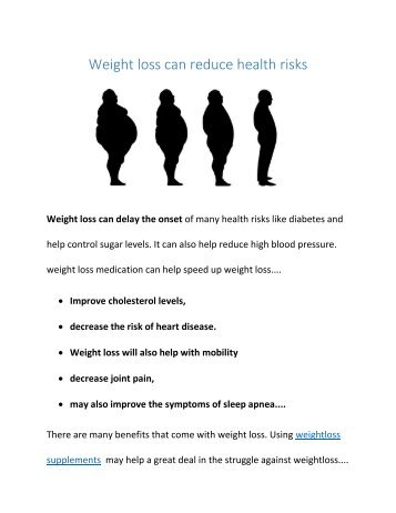 Weight Loss Can Reduce Health Risks