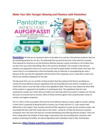 make your skin Young and look less aged with Pantothen