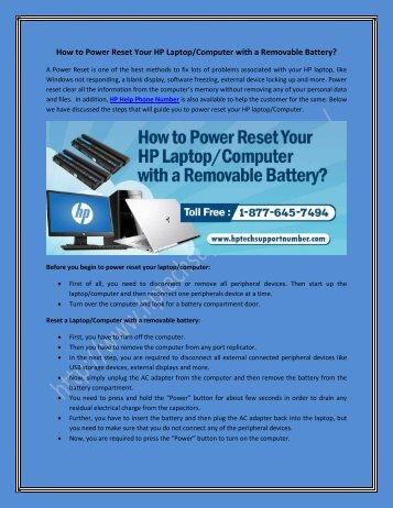How to Power Reset Your HP Laptop/Computer with a Removable Battery?
