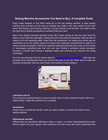 Sewing Machine Accessories You Need to Buy