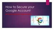How to Secure your Google Account | (800) 674-2896