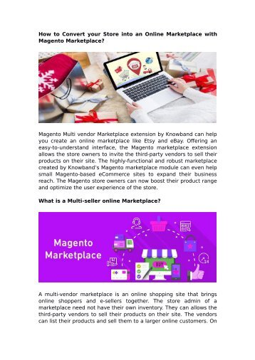 How to Convert your Store into an Online Marketplace with Magento Marketplace?