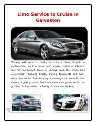 Limo Service to Cruise in Galveston