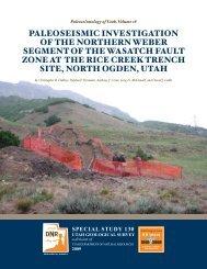 Paleoseismic investigation of the northern Weber segment of - Utah ...