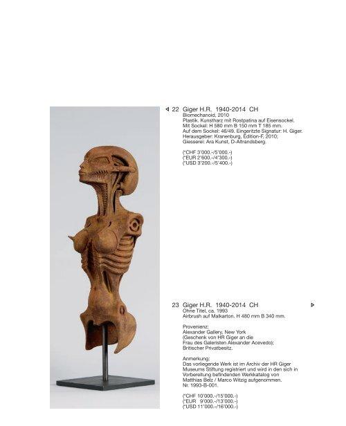 Kunst Auktion 4. - 5. Juni 2018, Germann Auktionshaus AG, Zürich