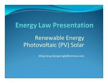 Renewable Energy Photovoltaic (PV) Solar