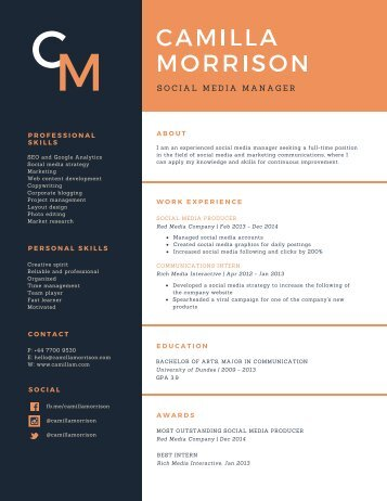 Blue and Orange Formal Academic Resume