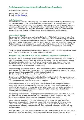 Technische Anforderungen an die Übergabe von Druckdaten