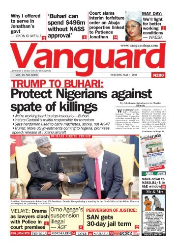 01052018 - TRUMP TO BUHARI: Protect Nigerians against spate of killings