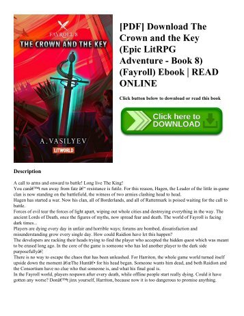 [PDF] Download The Crown and the Key (Epic LitRPG Adventure - Book 8) (Fayroll) Ebook  READ ONLINE