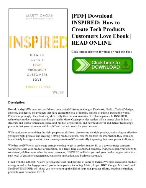 Pdf Download Inspired How To Create Tech Products Customers Love Ebook Read Online