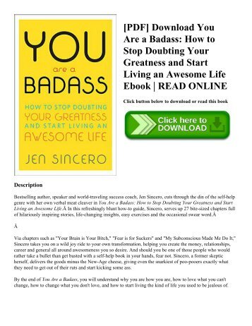 [PDF] Download You Are a Badass How to Stop Doubting Your Greatness and Start Living an Awesome Life Ebook  READ ONLINE