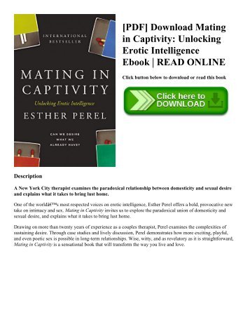 [PDF] Download Mating in Captivity Unlocking Erotic Intelligence Ebook  READ ONLINE