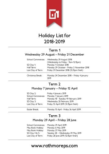 Holiday List 2018-2019