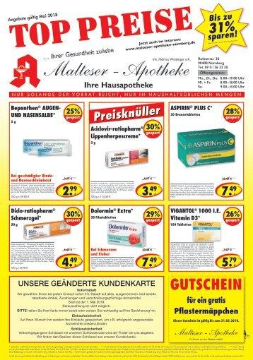 Angebote der Malteser Apotheke in Nürnberg im Mai