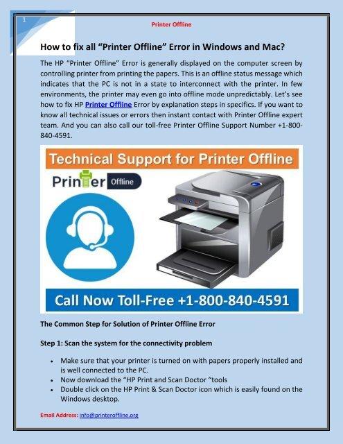 "How to fix all ""Printer Offline"" Error in Windows and Mac?"