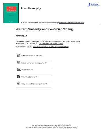Western sincerity and Confucian Cheng