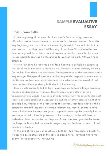 Sample Evaluative Essay