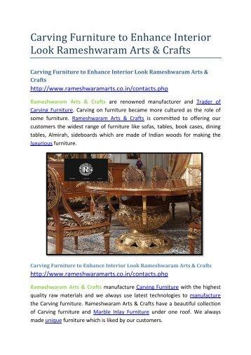Carving Furniture to Enhance Interior Look Rameshwaram Arts & Crafts