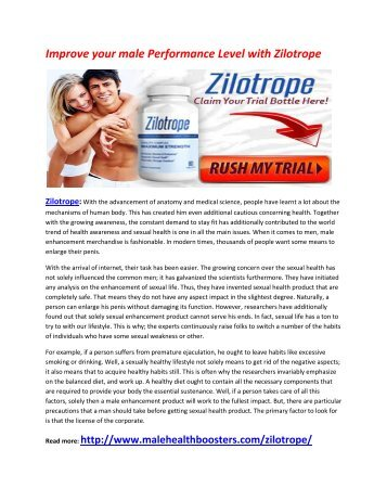 Enhance Your Performance of men over the Bed with Zilotrope