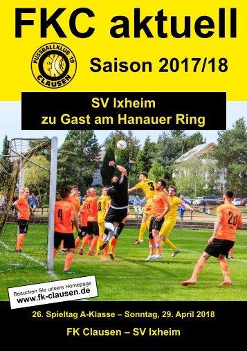 26. Spieltag (29. April 2018)