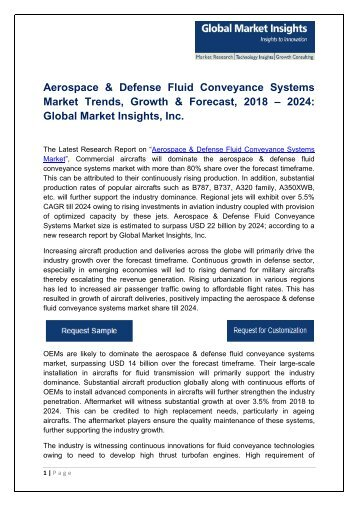 Aerospace & Defense Fluid Conveyance Systems Market in North America to dominate accounting for more than 50% share by 2024