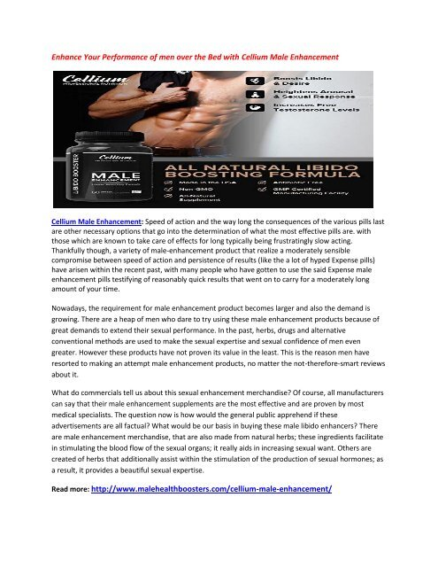Increase Your Metabolism Level with Cellium Male Enhancement