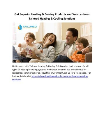 Get Superior Heating & Cooling Products and Services from Tailored Heating & Cooling Solutions