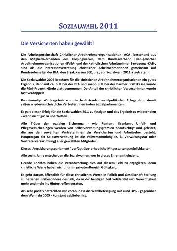 SOZIALWAHL 2011 Die Versicherten haben gewählt! - BVEA