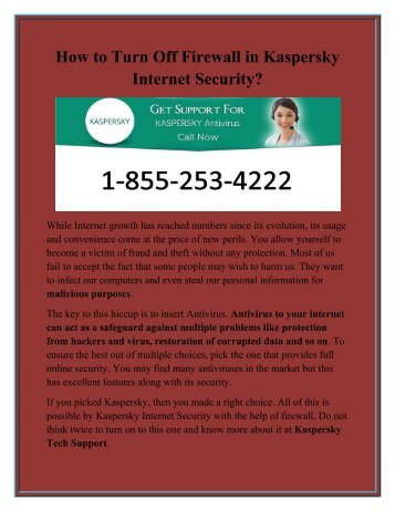 How to Turn Off Firewall in Kaspersky Internet Security?