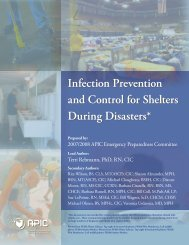 Infection Prevention and Control for Shelters During Disasters* - APIC