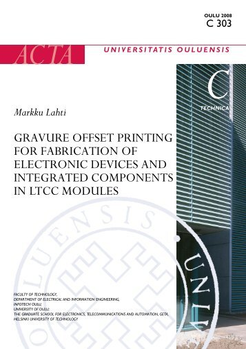Gravure offset printing for fabrication of electronic devices ... - Oulun