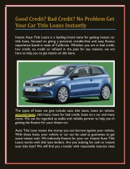 Good Credit? Bad Credit? No Problem Get Your Car Title Loans Instantly