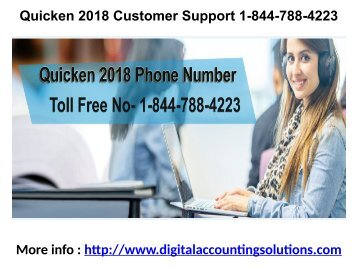 Quicken 2018 Customer Support 1-844-788-4223